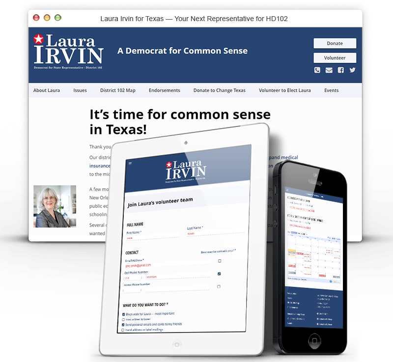 Responsive Website for the Laura Irvin Campaign for Texas House District 102